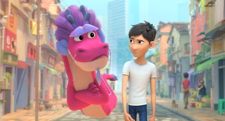 WISH DRAGON - (L-R) John Cho as Long and Jimmy Wong as Din. Cr: ©2021 SPAI. All Rights Reserved.