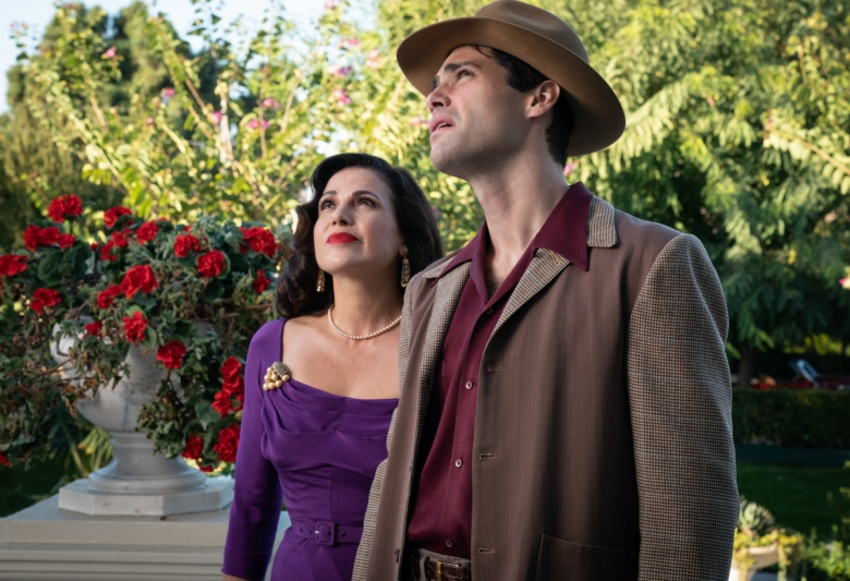 Pictured: Lana Parrilla as Rita and Matthew Daddario as Scooter of the Paramount+ series WHY WOMEN KILL Photo Cr: Nicole Wilder ©2021 Paramount+, Inc. All Rights Reserved.