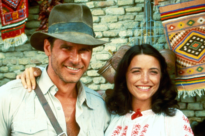"""Harrison Ford, Karen Allen on the set of """"Raiders of the Lost Ark"""""""
