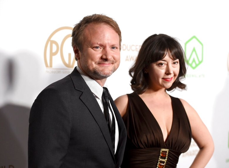 Rian Johnson, left, and Karina Longworth arrive at the 31st Annual Producers Guild Awards at the Hollywood Palladium on Saturday, January 18, 2020, in Los Angeles. (Photo by Jordan Strauss/Invision for the Producers Guild of America/AP Images)