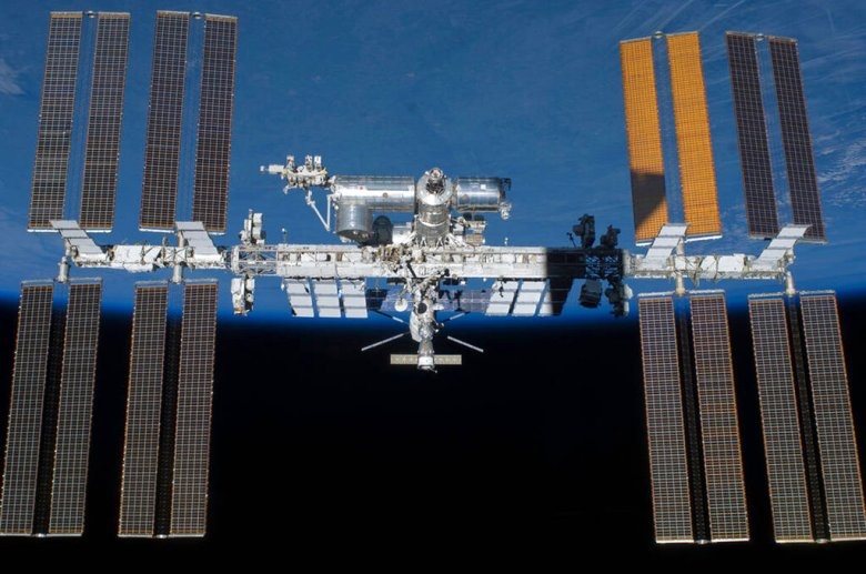 An undated photo provided by NASA shows the International Space Station in orbit. On Monday, May 16, 2016,  the International Space Station made its 100,000th orbit circling of the world. NASA says these 100,000 orbits are akin to traveling more than 2.6 billion miles. (NASA via AP)