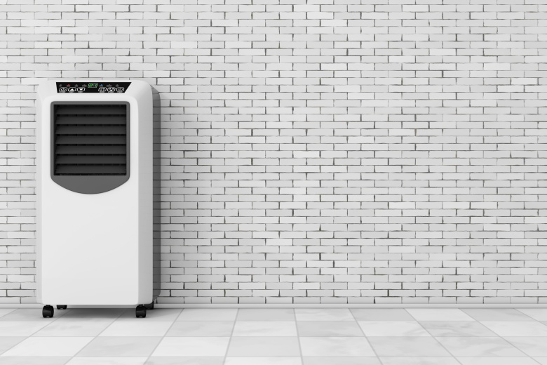 Portable Mobile Room Air Conditioner in front of brick wall. 3d Rendering.