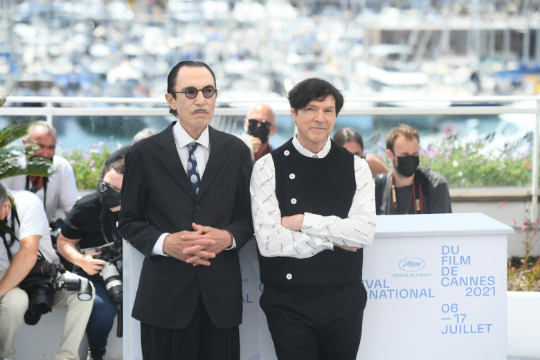 Ron Mael and Russell Mael at the photo call for 'Annette' during the 2021 Cannes Film Festival in Cannes, Frances on July 6, 2021.