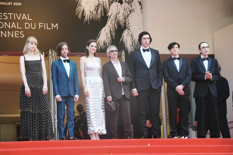 The cast of Annette during the 2021 Cannes Film Festival in Cannes, Frances on July 6, 2021.