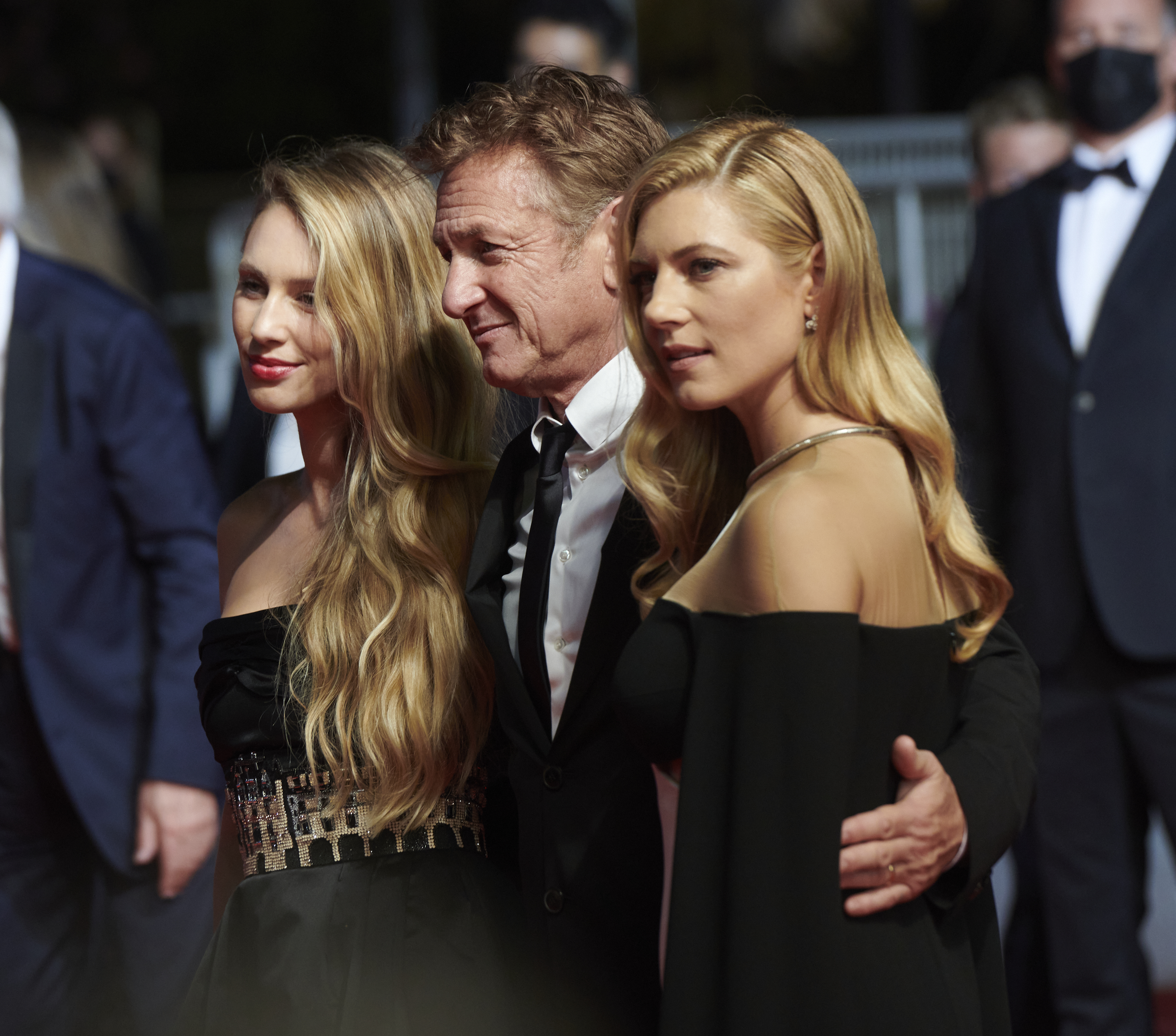 """Katheryn Winnick, Sean Penn and Dylan Penn attend the """"Flag Day"""" screening during the 74th annual Cannes Film Festival on July 10, 2021 in Cannes, France."""