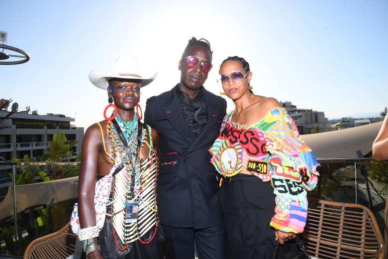Gugulethu Moyo, Saul Wiiliams and Anisia Uzeyman attend IndieWire's Cocktail Party, Salute to American Film, the 74th Annual Cannes Film Festival on July 11, 2021 in Cannes, France.