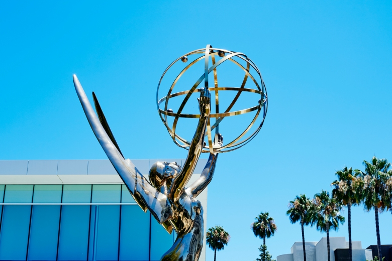 A statue of the Emmy Award outside the Academy of Television Arts and Sciences building in North Hollywood, California on July 17, 2020.
