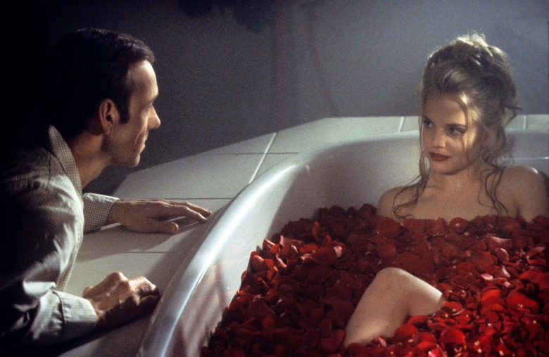 AMERICAN BEAUTY, Kevin Spacey, Mena Suvari, 1999 (image upgraded to 13.8 x 9 in)