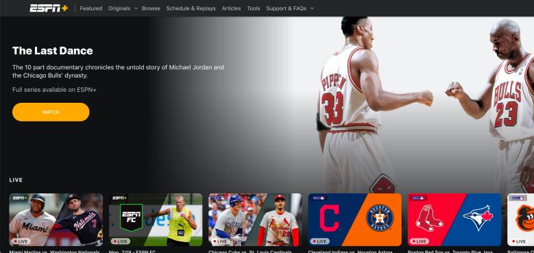 ESPN+ screengrab