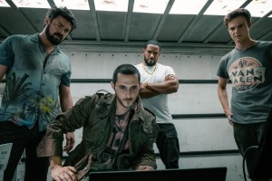 THE BOYS, from left: Karl Urban, Tomer Capon, Laz Alonso, Jack Quaid, 'Get Some', (Season 1, ep. 103, aired July 26, 2019). photo: Jan Thijs / ©Amazon / courtesy Everett Collection