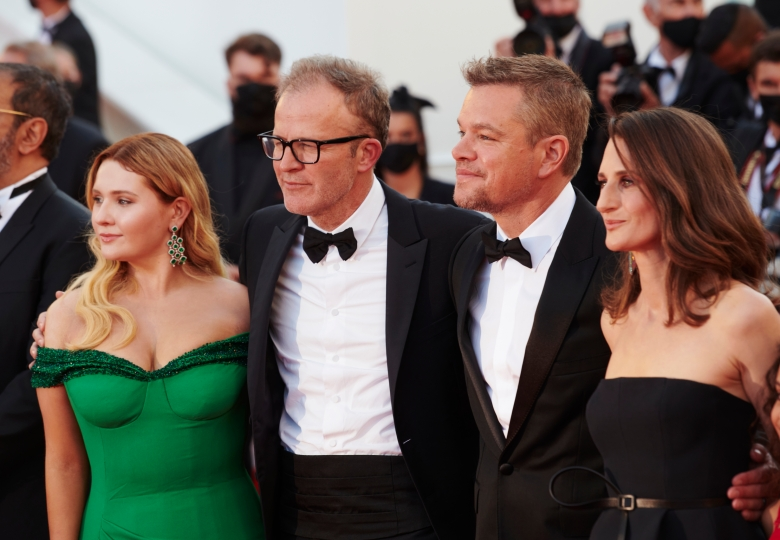 """Matt Damon, Abigail Breslin, director Tom McCarthy and Camille Cottin rrives """"Stillwater"""" Red Carpet  during the The 74th Annual Cannes Film Festival in Cannes, France on July 8, 2021."""