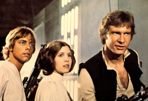 """Mark Hamill, Carrie Fisher, and Harrison Ford in """"Star Wars"""""""