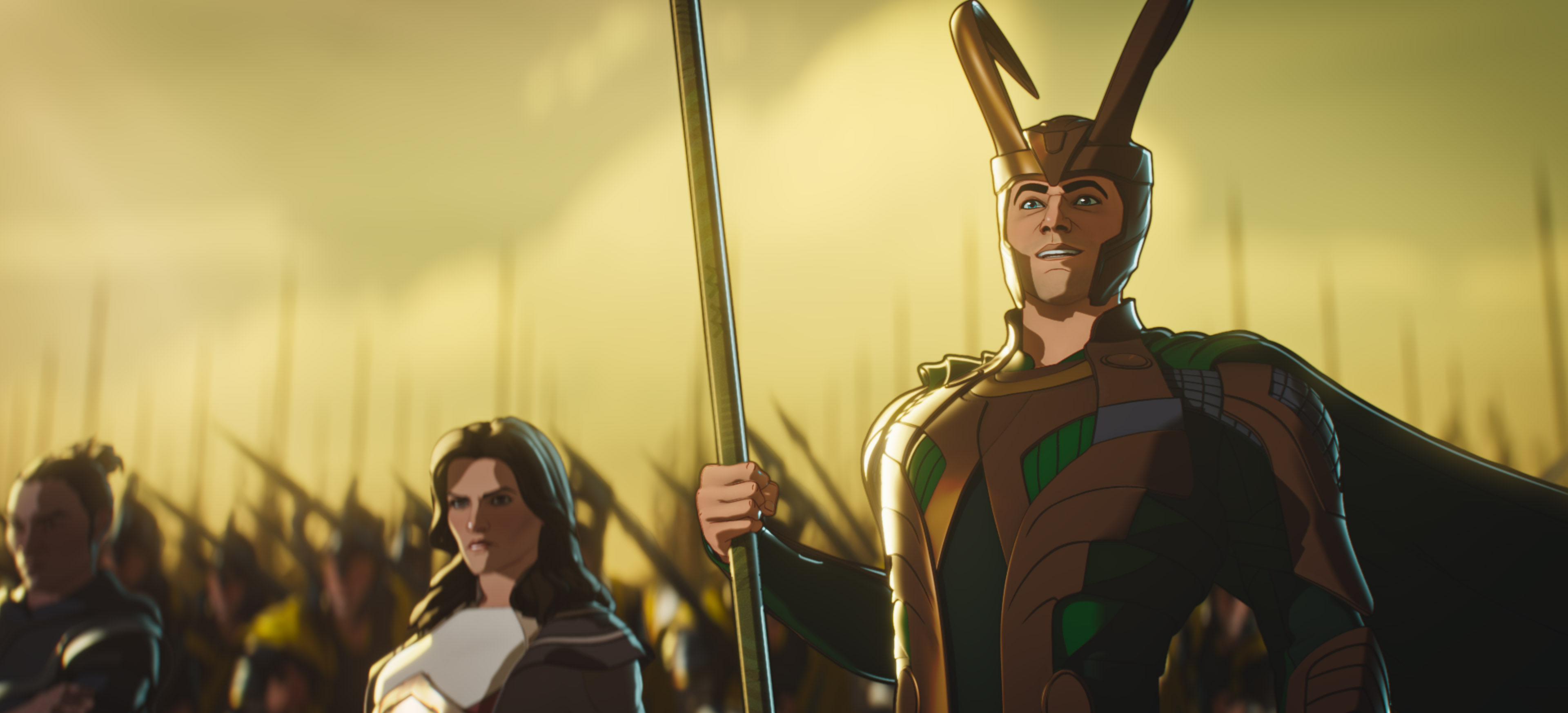 (L-R): Hogun, Lady Sif and Loki in Marvel Studios' WHAT IF…? exclusively on Disney+. ©Marvel Studios 2021. All Rights Reserved.