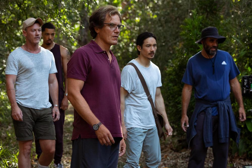 """Nine Perfect Strangers -- """"Earth Day"""" - Episode 103 -- Forced to live """"off of the land"""" on Earth Day, tension within the group erupts as treatment intensifies and hunger pains set in. Lars (Luke Evans), Ben (Melvin Gregg), Napoleon (Michael Shannon), Yao (Manny Jacinto), and Tony (Bobby Cannavale), shown. (Photo by: Vince Valitutti/Hulu)"""
