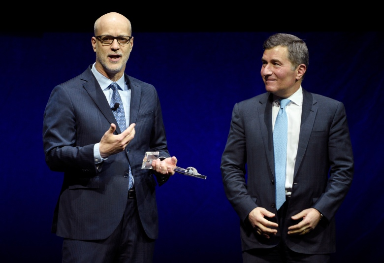 John Fithian, left, president and CEO of the National Association of Theatre Owners (NATO), and Charles Rivkin, chairman and CEO of the Motion Picture Association of America (MPAA), address the audience during CinemaCon 2019, the official convention of NATO, at Caesars Palace, Tuesday, April 2, 2019, in Las Vegas. (Photo by Chris Pizzello/Invision/AP)