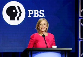 FILE - In this Saturday, Feb. 2, 2019, file photo, PBS President and CEO Paula Kerger speaks during the PBS Executive Session at the Television Critics Association Winter Press Tour at The Langham Huntington in Pasadena, Calif. Kerger will head the public TV service for another five years. (Photo by Willy Sanjuan/Invision/AP, File)