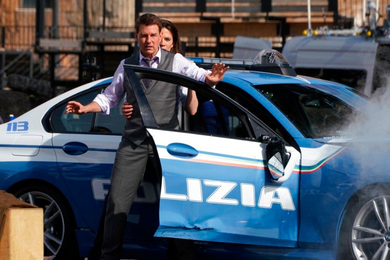 Actors Tom Cruise and Hayley Atwell perform during the shooting of the film Mission Impossible 7, by Christopher McQuarrie, in Rome, Tuesday, Oct. 13, 2020. (AP Photo/Andrew Medichini)