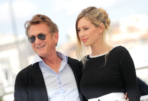 Sean Penn, left, and Dylan Penn pose for photographers at the photo call for the film 'Flag Day' at the 74th international film festival, Cannes, southern France, Sunday, July 11, 2021. (Photo by Vianney Le Caer/Invision/AP)