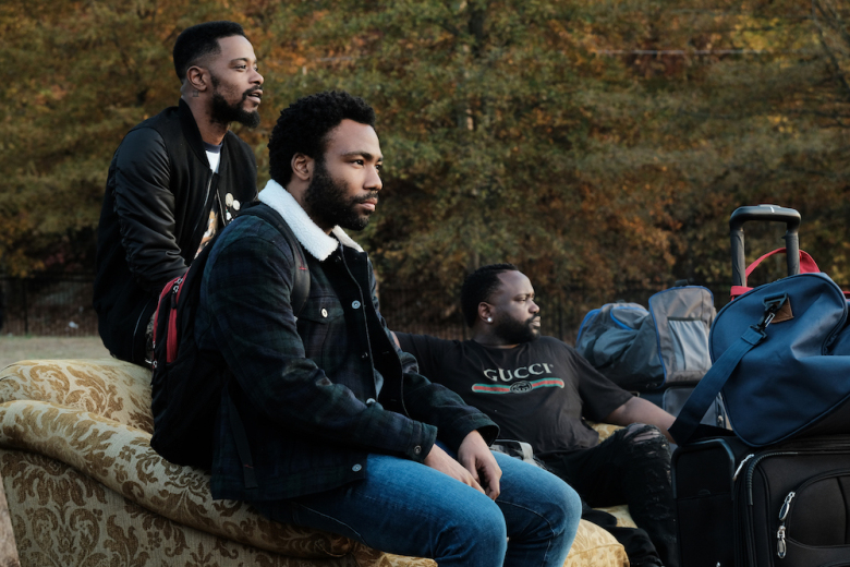 """ATLANTA Robbin' Season -- """"Crabs in a Barrel"""" -- Season Two, Episode 11 (Airs Thursday, May 10, 10:00 p.m. e/p) Pictured (l-r): Lakeith Stanfield as Darius, Donald Glover as Earnest Marks, Brian Tyree Henry as Alfred Miles. CR: Guy D'Alema/FX"""
