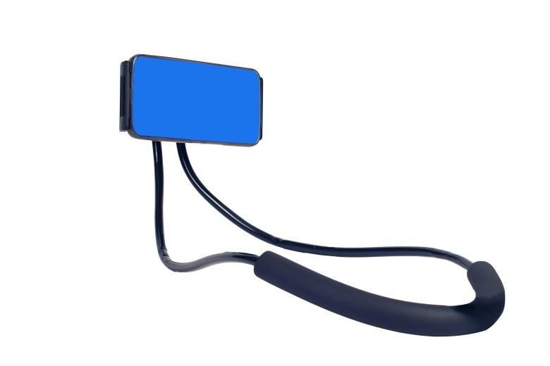 Smart phone holder use the neck on white background.