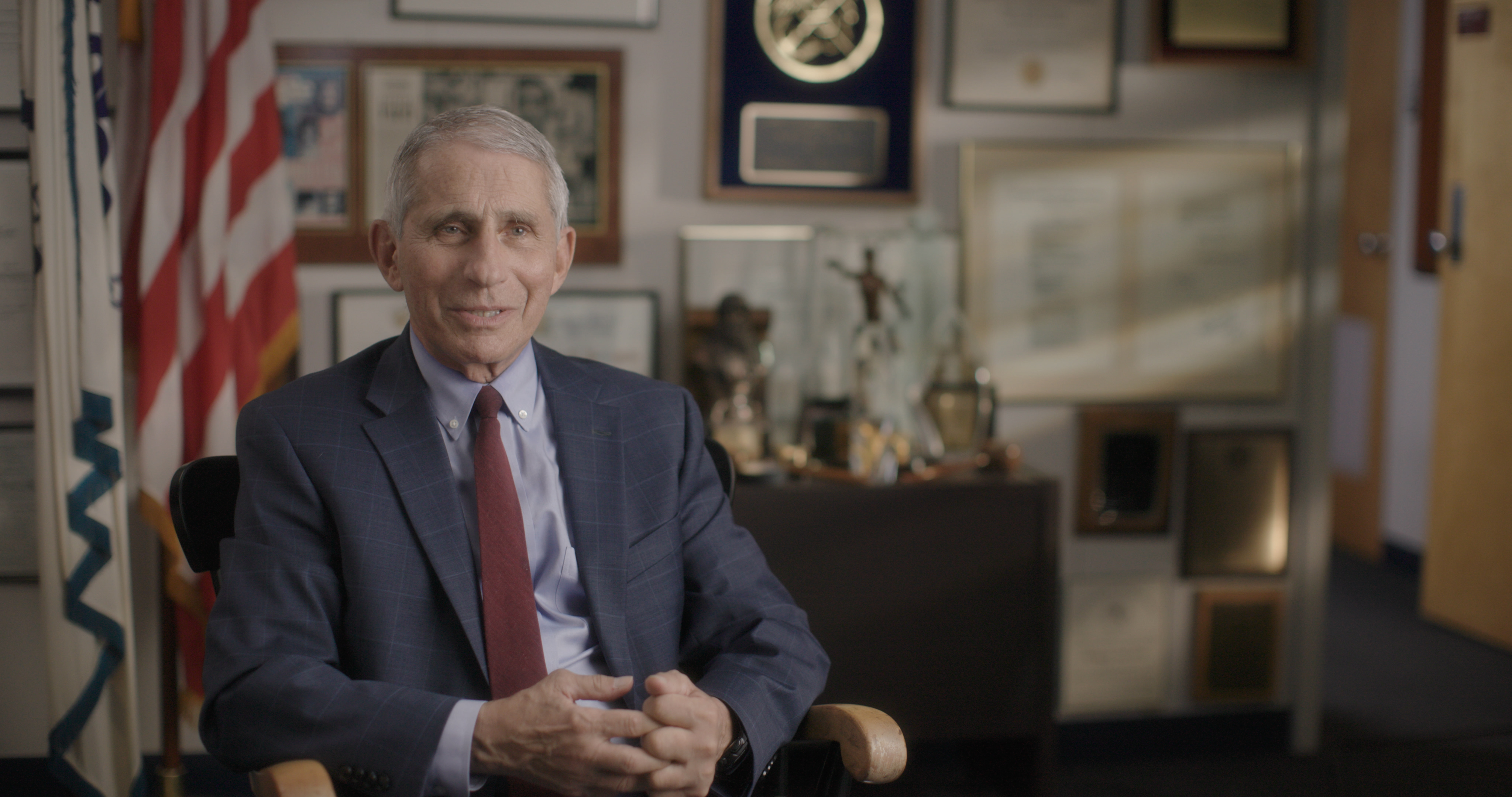 Dr. Anthony Fauci in seated interview in his office at the National Institute of Allergy and Infectious Diseases. (National Geographic for Disney+)