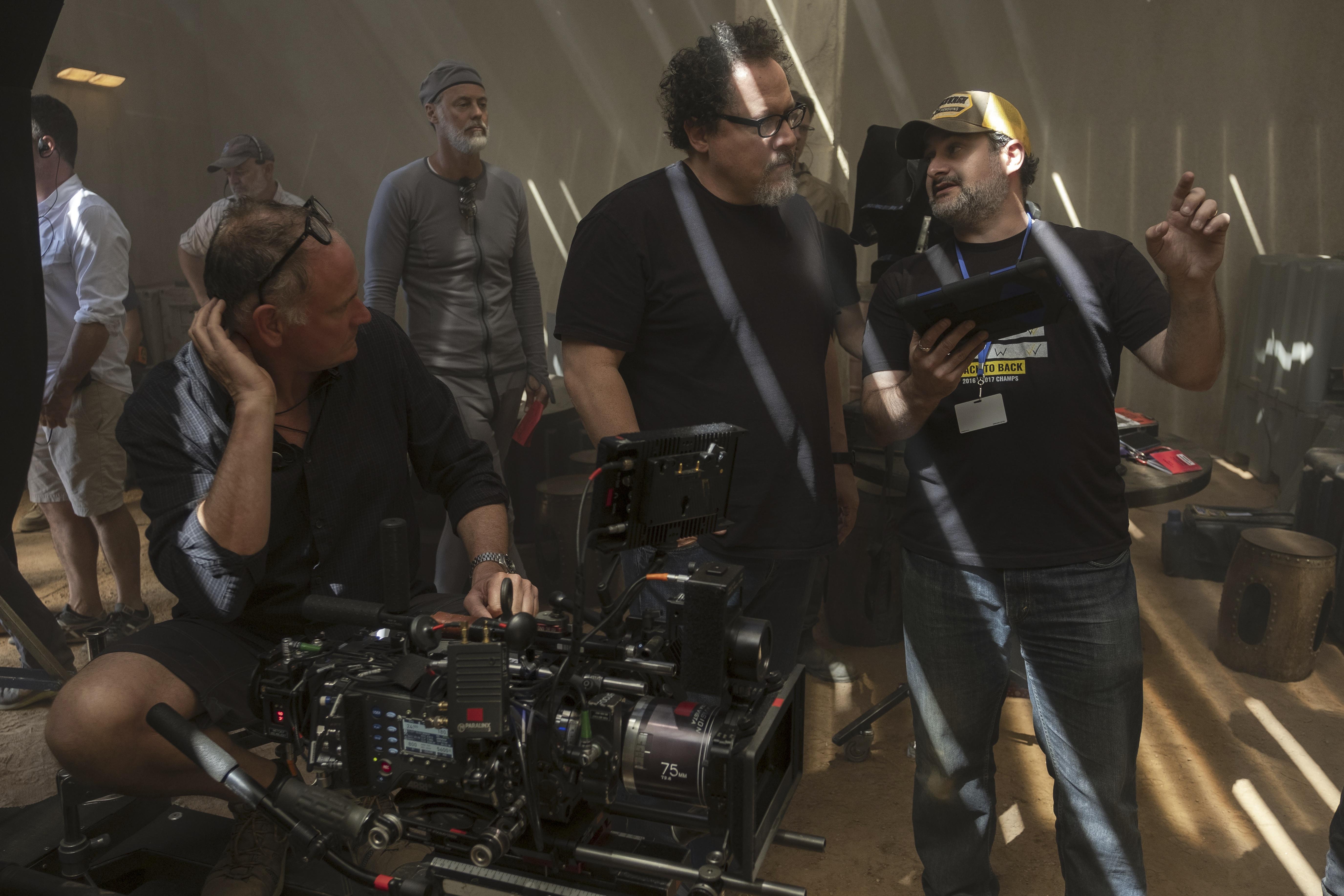 """The Mandalorian"" cinematographer Baz Idoine (left) with Jon Favreau, Dave Filoni"