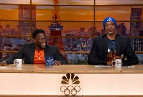 """OLYMPIC HIGHLIGHTS -- """"July 28, 2021"""" Episode 103 -- Pictured in this screengrab: (l-r) Kevin Hart, Snoop Dogg -- (Photo by: Peacock)"""