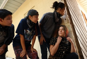 """RESERVATION DOGS """"Pilot"""" Episode 1 (Airs Monday, August 9) — Pictured: (l to r): Lane Factor as Cheese, Paulina Alexis as Willie Jack, D'Pharaoh Woon-A-Tai as Bear, Devery Jacobs as Elora Danan Postoak. CR: Shane Brown/FX"""