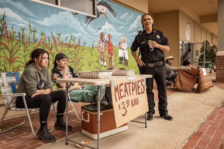 """RESERVATION DOGS """"Pilot"""" (Airs, Monday, August 9) Pictured: (l-r) Devery Jacobs as Elora Danan Postoak, Paulina Alexis as Willie Jack, Zahn McLarnon as Big. CR: Shane Brown/FX"""