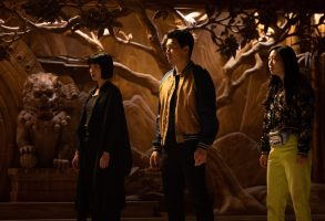 (L-R): Xialing (Meng'er Zhang), Shang-Chi (Simu Liu) and Katy (Awkwafina) in Marvel Studios' SHANG-CHI AND THE LEGEND OF THE TEN RINGS. Photo by Jasin Boland. ©Marvel Studios 2021. All Rights Reserved.