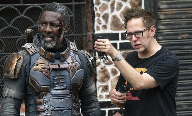 "Idris Elba and James Gunn on ""The Suicide Squad"" set"