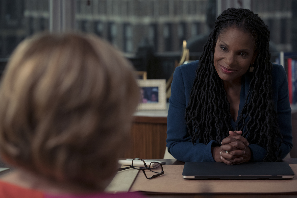 """""""And the violence spread.""""-- Epi# 510-- Audra McDonald as Liz Reddick of the Paramount+ series THE GOOD FIGHT. Photo: Elizabeth Fisher©2021 Paramount+, Inc. All Rights Reserved."""