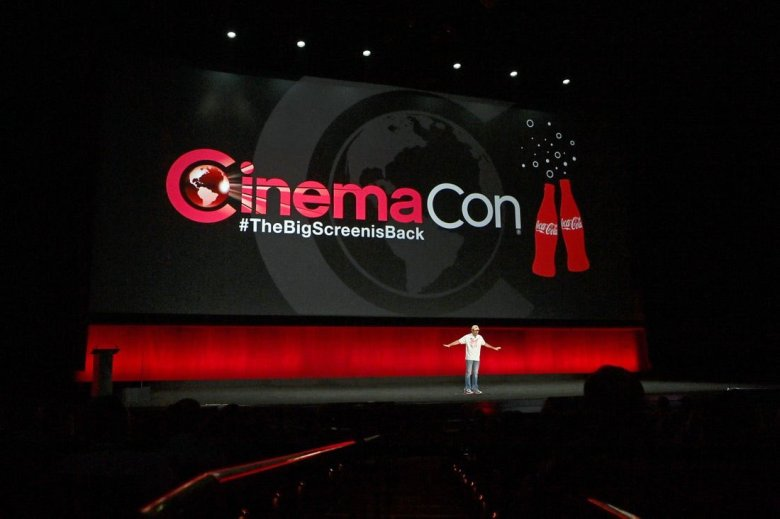 CinemaCon Managing Director Mitch Neuhauser speaking during Sony's presentation at the opening night of CinemaCon