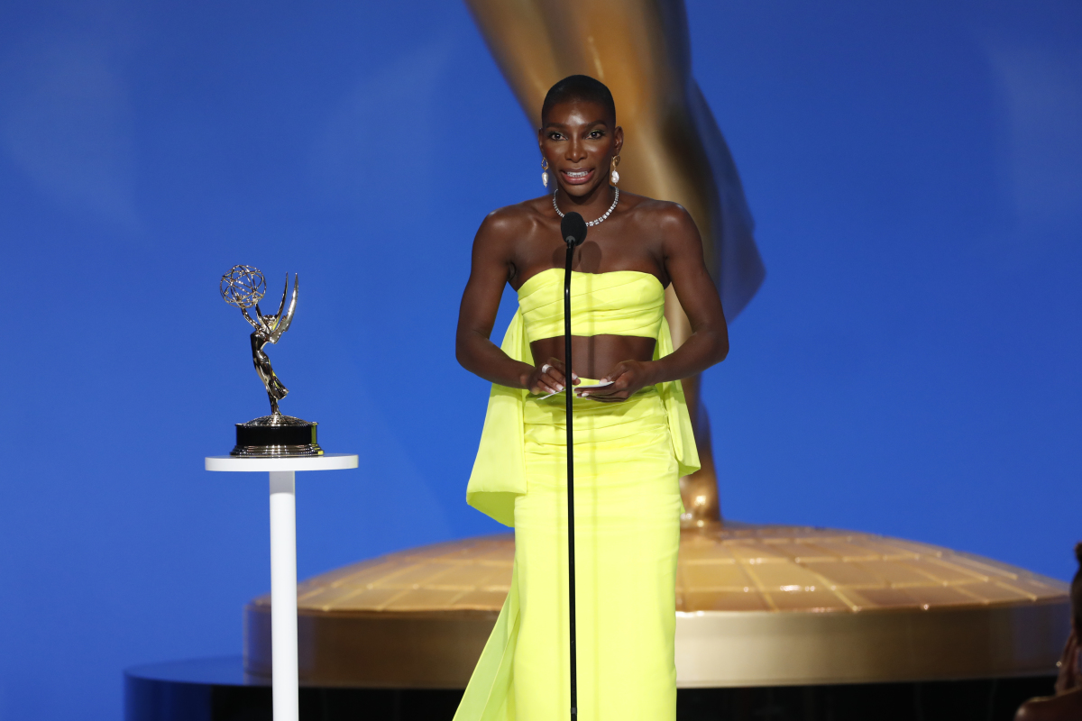 Michaela Coel from 'I May Destroy You' appears at the 73RD EMMY AWARDS, broadcast Sunday, Sept. 19 (8:00-11:00 PM, live ET/5:00-8:00 PM, live PT) on the CBS Television Network and available to stream live and on demand on Paramount+. -- Photo: Cliff Lipson/CBS ©2021 CBS Broadcasting, Inc. All Rights Reserved.