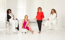 """THE VIEW - """"The View"""" 25 Promo/Photo shoot - 8/6/21. """"The View"""" Season 25 with Whoopi Goldberg, Joy Behar, Sara Haines and Sunny Hostin premieres Tuesday, September 7, 2021 on ABC. """"The View"""" airs Monday-Friday, 11 a.m.-12 noon, ET, on ABC.(ABC/Robert Ascroft)WHOOPI GOLDBERG, SARA HAINES, JOY BEHAR, SUNNY HOSTIN"""
