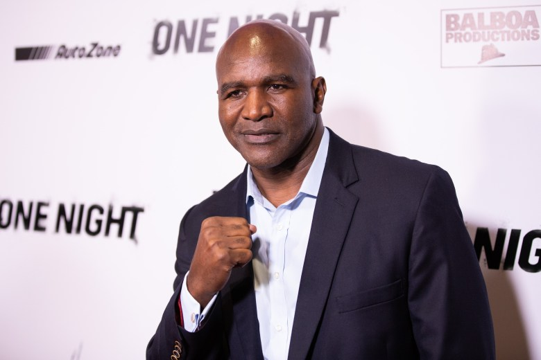 Evander Holyfield at arrivals for JOSHUA VS. RUIZ Premiere by DAZN Originals, Writers Guild Theater, Beverly Hills, CA November 21, 2019. Photo By: Adrian Cabrero/Everett Collection