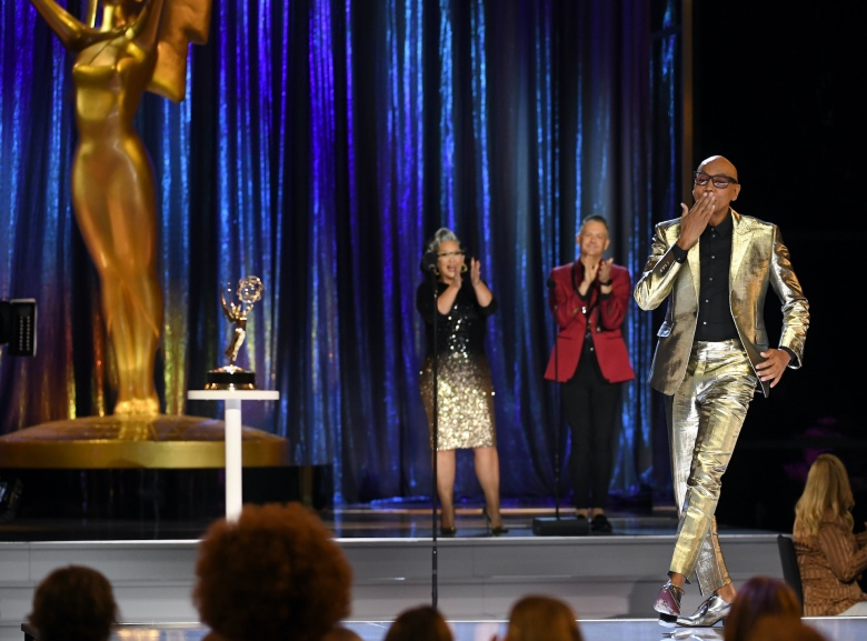 RuPaul accepts the Emmy for outstanding host for a reality or competition program for ìRuPaulís Drag Raceî during the second ceremony of the Television Academyís 2021 Creative Arts Emmy Awards at the L.A. LIVE Event Deck on Saturday, Sept. 12, 2021, in Los Angeles. (Photo by Phil McCarten/Invision for the Television Academy/AP Images)