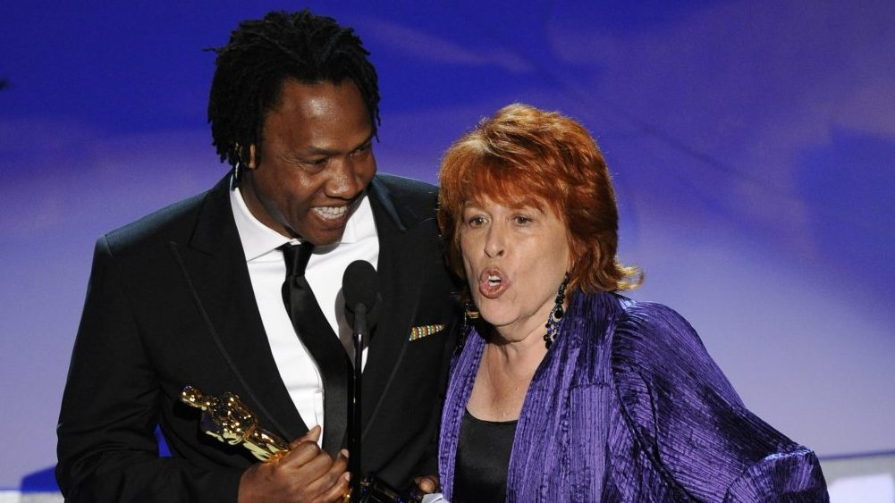 Roger Ross Williams, left, and Elinor Burkett accept the Oscar for best documentary short subject for ?Music by Prudence? at the 82nd Academy Awards Sunday, March 7, 2010, in the Hollywood section of Los Angeles. (AP Photo/Mark J. Terrill)