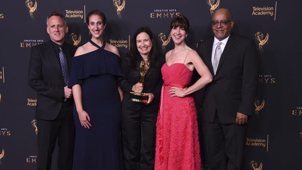 Jim Sommers, from left, Lisa Tawil, Sally Jo Fifer, Lois Vossen, and Garry Denny pose in the press room with the governors award during night one of the Creative Arts Emmy Awards at the Microsoft Theater on Saturday, Sept. 9, 2017, in Los Angeles. (Photo by Richard Shotwell/Invision/AP)