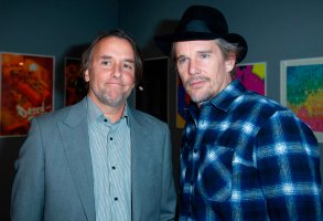 Richard Linklater and Ethan Hawke attending the Richard Linklater Retrospective and Exhibition Opening at the Centre Pompidou in Paris, France on November 25, 2019. Photo by Aurore Marechal/Abaca/Sipa USA(Sipa via AP Images)