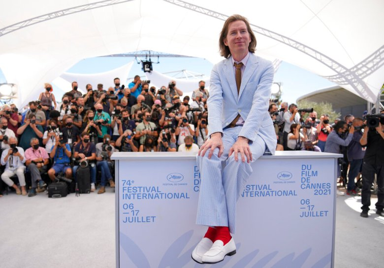 Director Wes Anderson poses for photographers at the photo call for the film 'The French Dispatch' at the 74th international film festival, Cannes, southern France, Tuesday, July 13, 2021. (AP Photo/Vadim Ghirda)