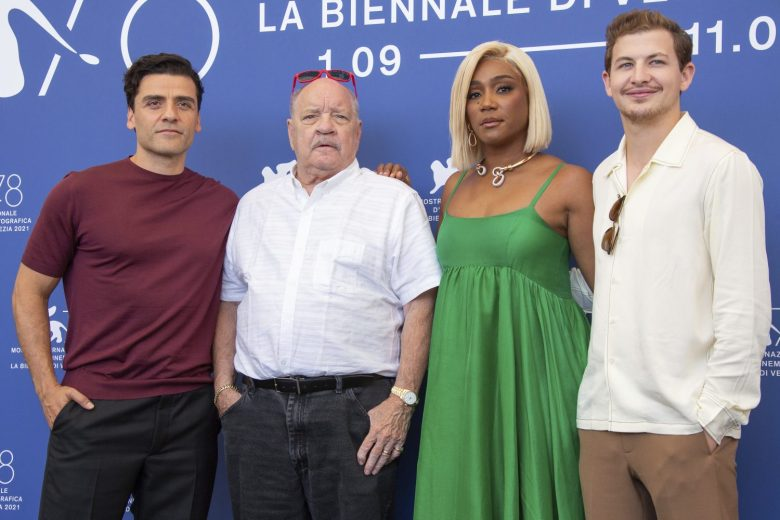 Oscar Isaac, from left, Paul Schrader, Tiffany Haddish and Tye Sheridan pose for photographers at the photo call for the film 'The Card Counter' during the 78th edition of the Venice Film Festival in Venice, Italy, Thursday, Sep, 2, 2021. (Photo by Joel C Ryan/Invision/AP)