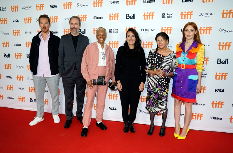 TIFF Tribute Award honourees, from left, Benedict Cumberbatch, Denis Villeneuve, Dionne Warwick, Danis Goulet, Alanis Obomsawin and Jessica Chastain pose together at the 2021 Toronto International Film Festival, Saturday, Sept. 11, 2021, in Toronto. (AP Photo/Chris Pizzello)