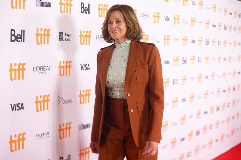 """Actress Sigourney Weaver walks the red carpet as she promotes the film """"The Good House"""" during the Toronto International Film Festival, on Wednesday, Sept. 15, 2021. (Chris Young/The Canadian Press via AP)"""