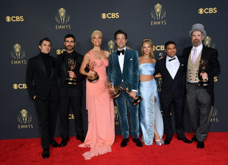 Jeremy Swift, Brett Goldstein, Hannah Waddingham, Jason Sudeikis, Juno Temple, Nick Mohammed, and Brendan Hunt, winners of Outstanding Comedy Series for 'Ted Lasso,' as well as Outstanding Supporting Actor in a Comedy Series (Goldstein), Outstanding Supporting Actress in a Comedy Series (Waddingham), and Outstanding Lead Actor in a Comedy Series (Sudeikis), pose in the press room