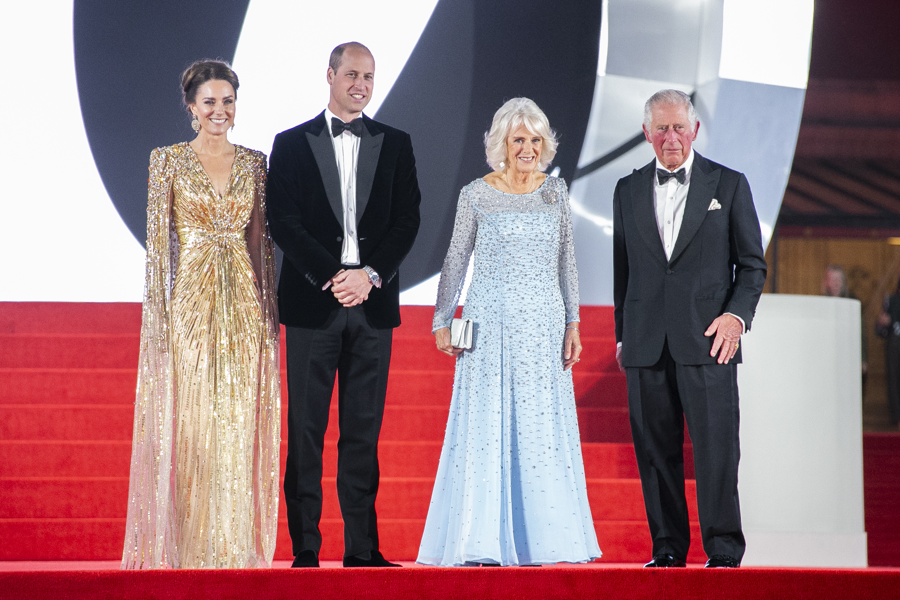Britain's Prince Charles, from left, his wife Camilla the Duchess of Cornwall, Kate the Duchess of Cambridge and her husband Britain's Prince William are photographed upon arrival for the World premiere of the film 'No Time To Die', in London Tuesday, Sept. 28, 2021. (Photo by Joel C Ryan/Invision/AP)