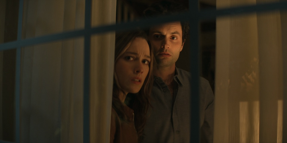"Victoria Pedretti and Penn Badgley in ""You"" Season 3 Netflix"