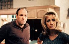 "James Gandolfini and Edie Falco in ""The Sopranos"""