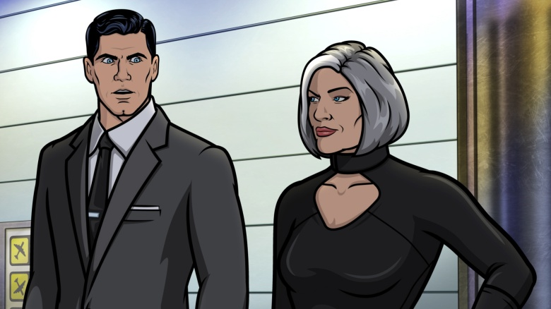 """ARCHER -- """"London Time""""—  Season 12, Episode 3 (Airs Wednesday, September 1st) — Pictured: (l-r)  Sterling Archer (voice of H. Jon Benjamin) and Malory Archer (voice of Jessica Walter).  CR: FXX"""