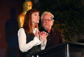 Diane Weyermann, left, and Larry Karaszewski speak at the 91st Academy Awards Foreign Language Nominees Reception at the LACMA on Friday, Feb. 22, 2019, in Los Angeles (Photo by Willy Sanjuan/Invision/AP)